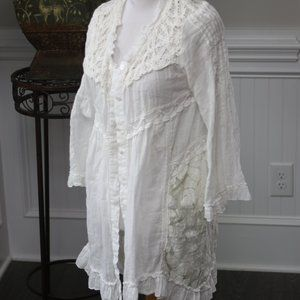 Light Flowy mixed Lace Crochet Cardigan lace up
